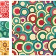 Collection of seamless vector retro patterns with circles — Image vectorielle