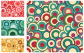 Collection of seamless vector retro patterns with circles — Stock Vector