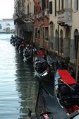 Moored gondolas,Venice,Italy — Stock Photo