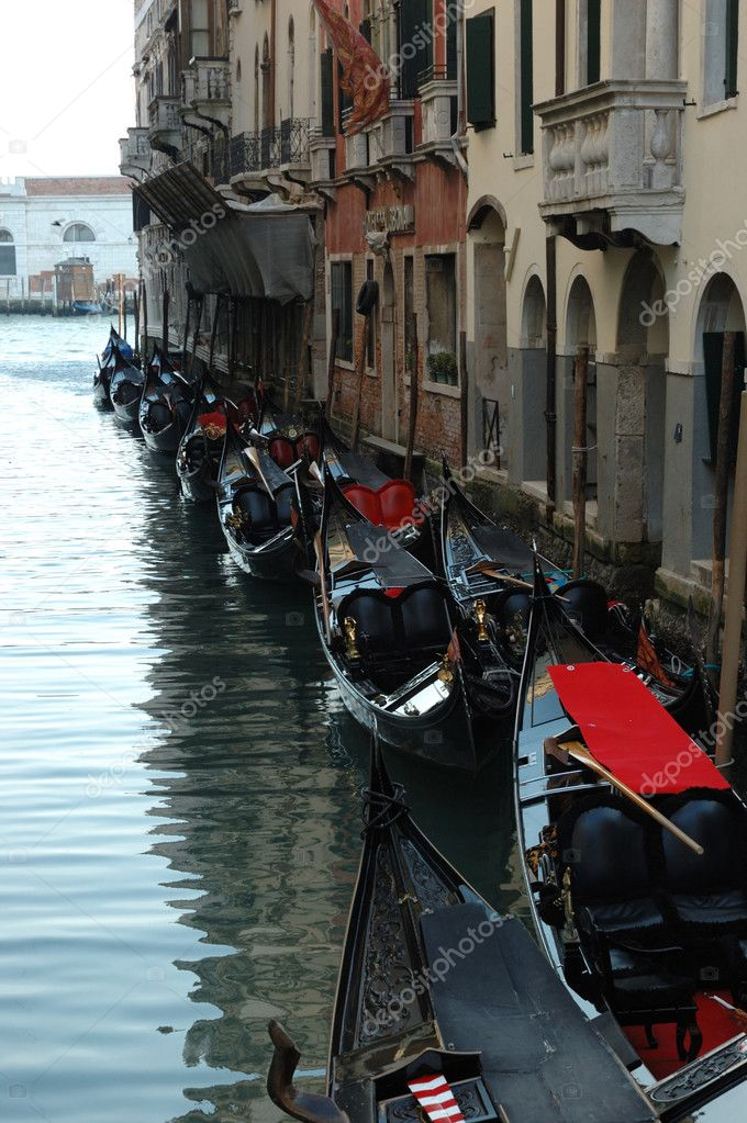 Moored gondolas,Venice,Italy  Stock Photo #5430091