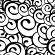 Seamless vector black and white spiral pattern - Stock Vector