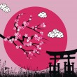 Japanese sakura blossom and tori gate -vector illustration - Stock Vector