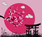 Japanese sakura blossom and tori gate -vector illustration — Stock Vector