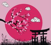 Flor japonesa sakura y tori puerta - ilustración vectorial — Vector de stock
