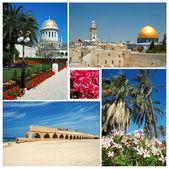 Collage de monumentos históricos de israel-vieja jerusalén, templo de bahai en haifa — Foto de Stock