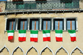 Windows with italian flags,old Venice — Stock Photo