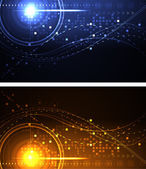 Stylized glowing backgrounds in wide-screen format — Stockvector