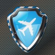 Protection shield with airplane icon - Image vectorielle