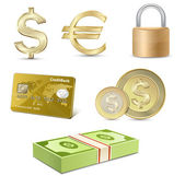 Dollar and Euro signs. Financial symbols. — Vector de stock
