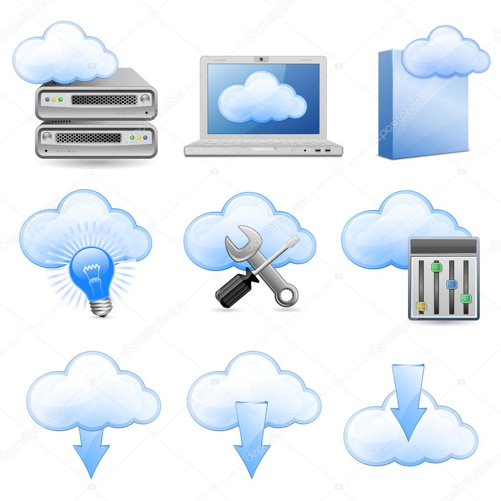 Vector Icons for Cloud Hosting — Imagen vectorial #5527244