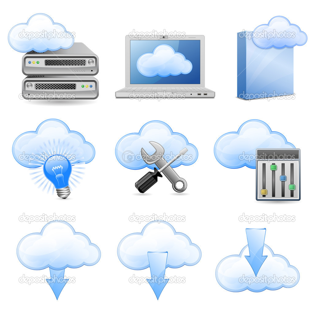 Vector Icons for Cloud Hosting — Stockvektor #5527244