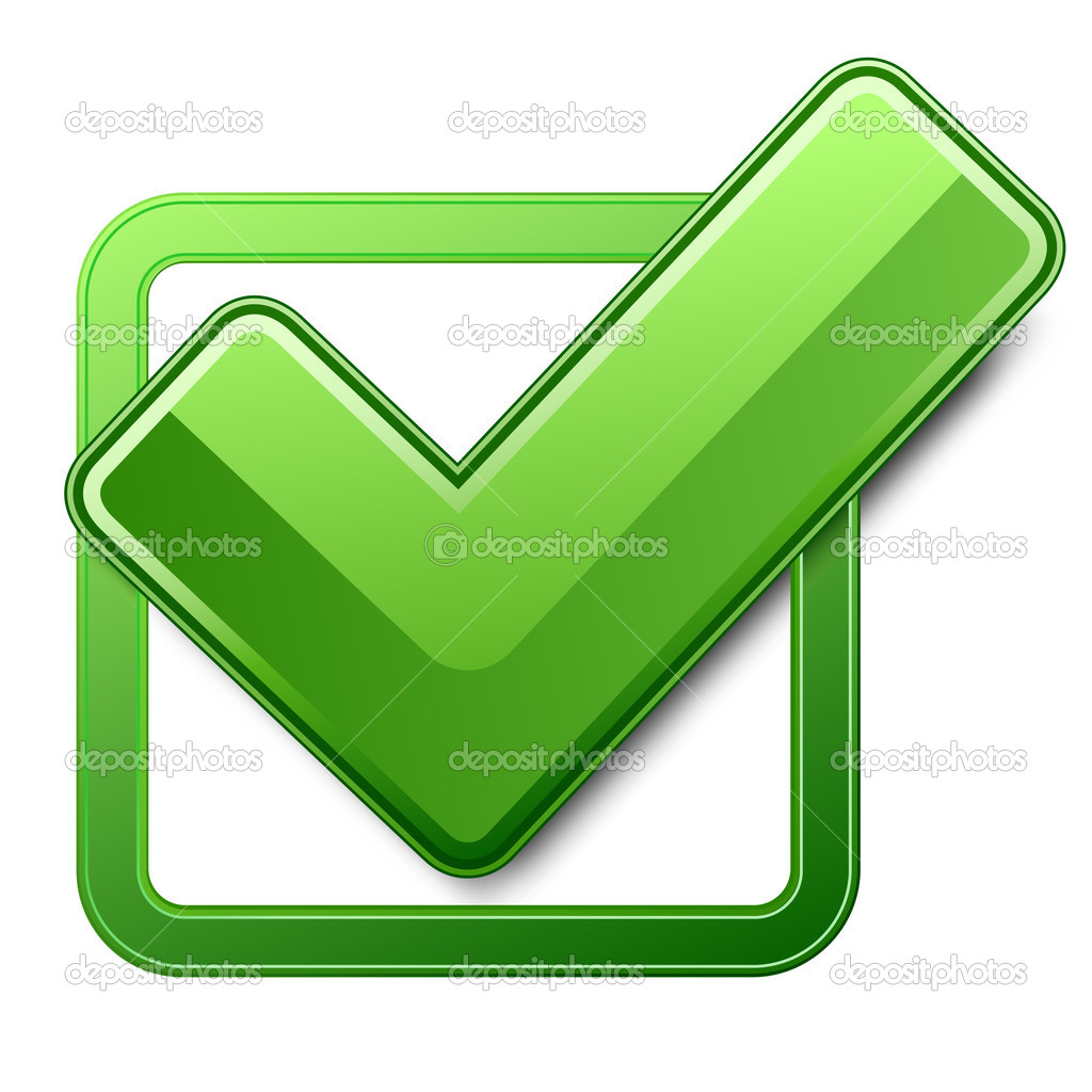 Green check box with check mark — Stockvektor #5567071