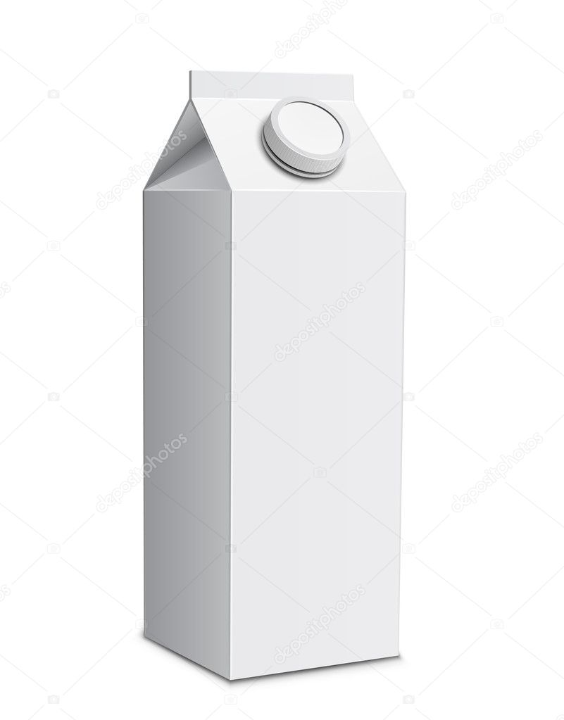 Milk carton with screw cap. Vector illustration of white milk box  Vettoriali Stock  #5617127