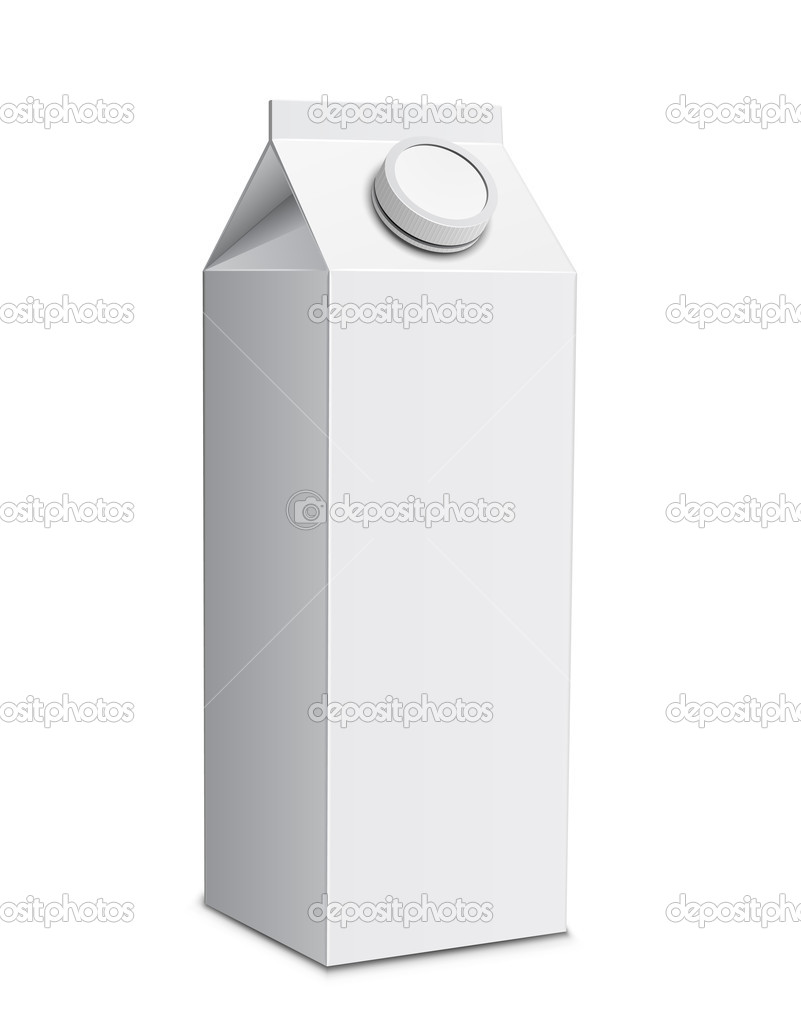 Milk carton with screw cap. Vector illustration of white milk box — ベクター素材ストック #5617127