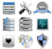 Web hosting iconos — Vector de stock