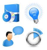 Vektor-icons für software-entwicklungsunternehmen — Stockvektor