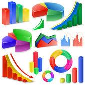 Grafieken en diagrammen-collectie — Stockvector