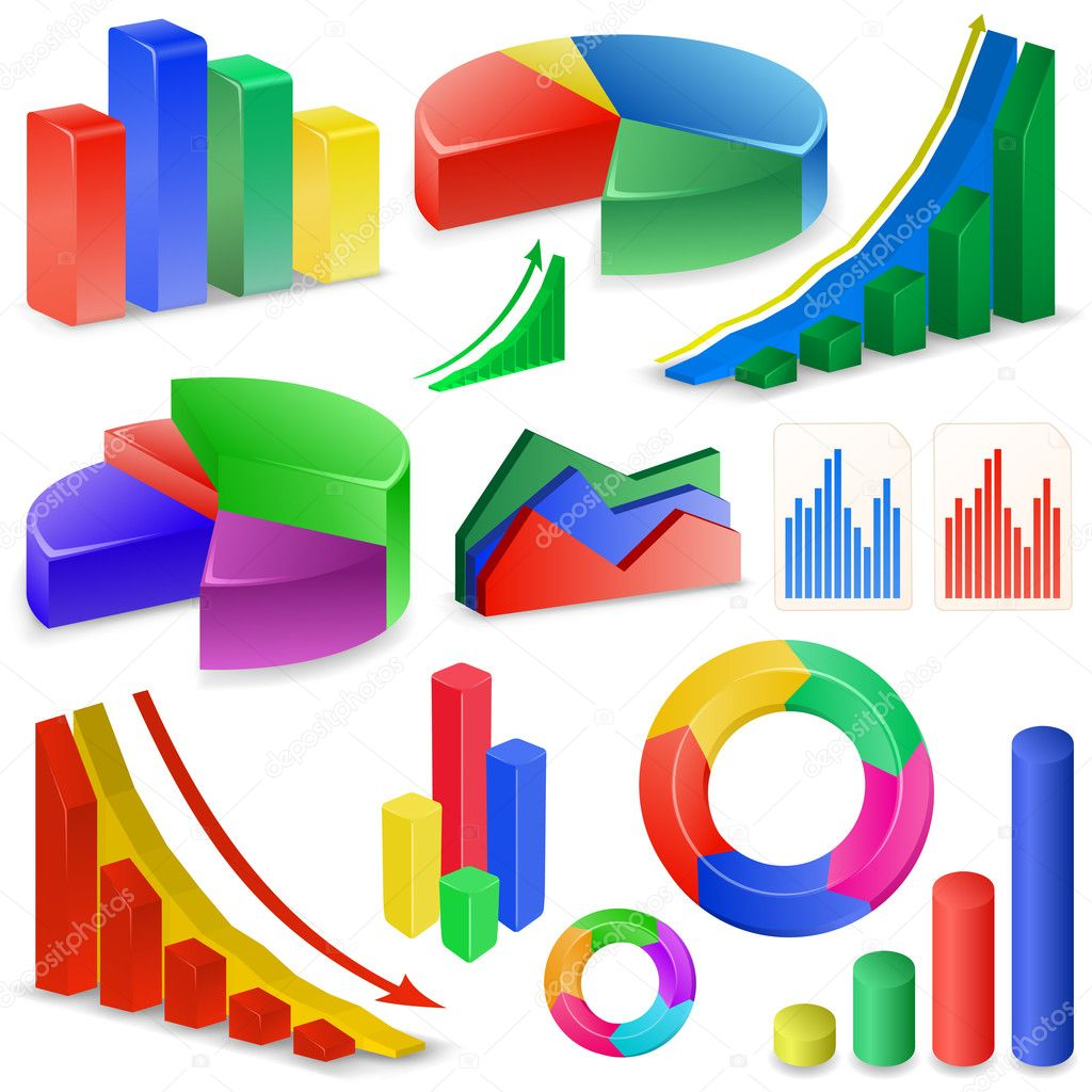 Charts and Graphs Collection. Reports set. — ベクター素材ストック #5673894