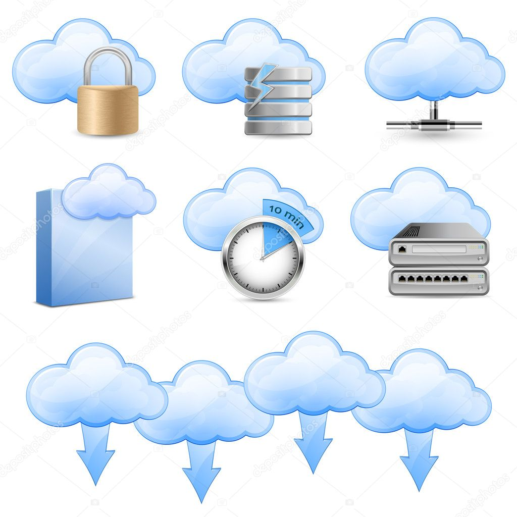 Vector Icons for Cloud Hosting  Imagens vectoriais em stock #5673946