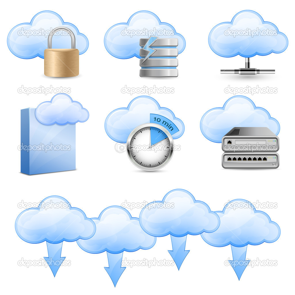 Vector Icons for Cloud Hosting  Stockvectorbeeld #5673946