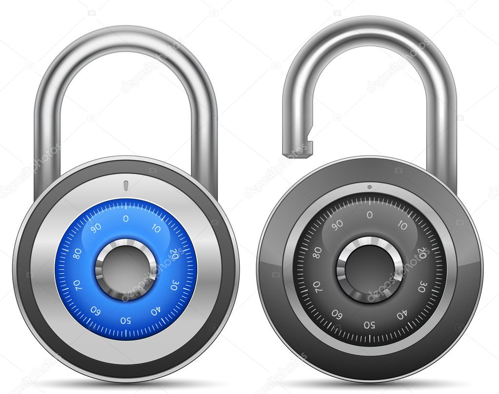 Combination Lock Collection. Security Concept. Vector illustration of padlock — Stock Photo #5734481