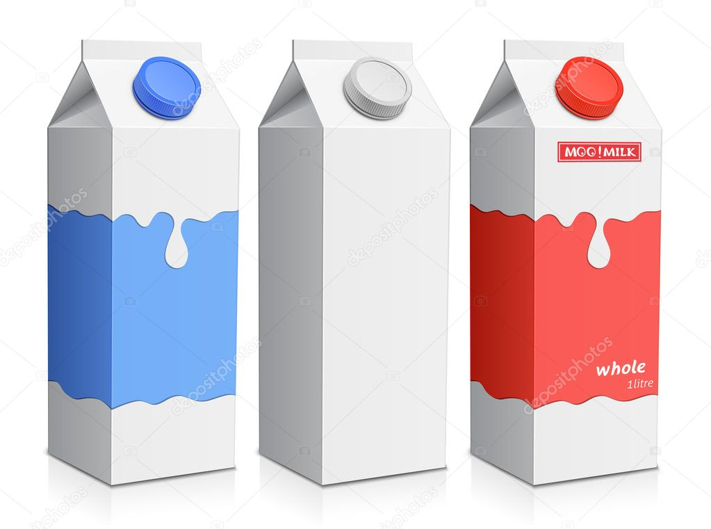 Collection of milk boxes. Milk carton with screw cap — Stockvektor #5730648