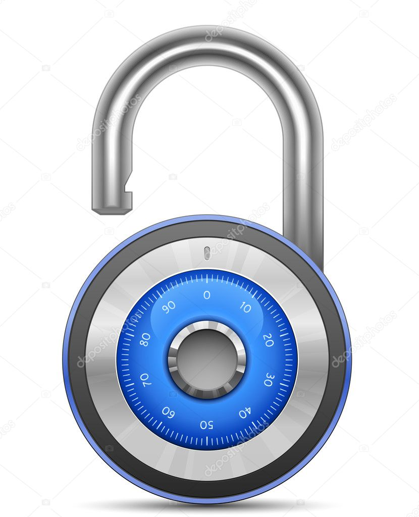Combination Lock Collection. Security Concept. Vector illustration of padlock — Vettoriali Stock  #5742704