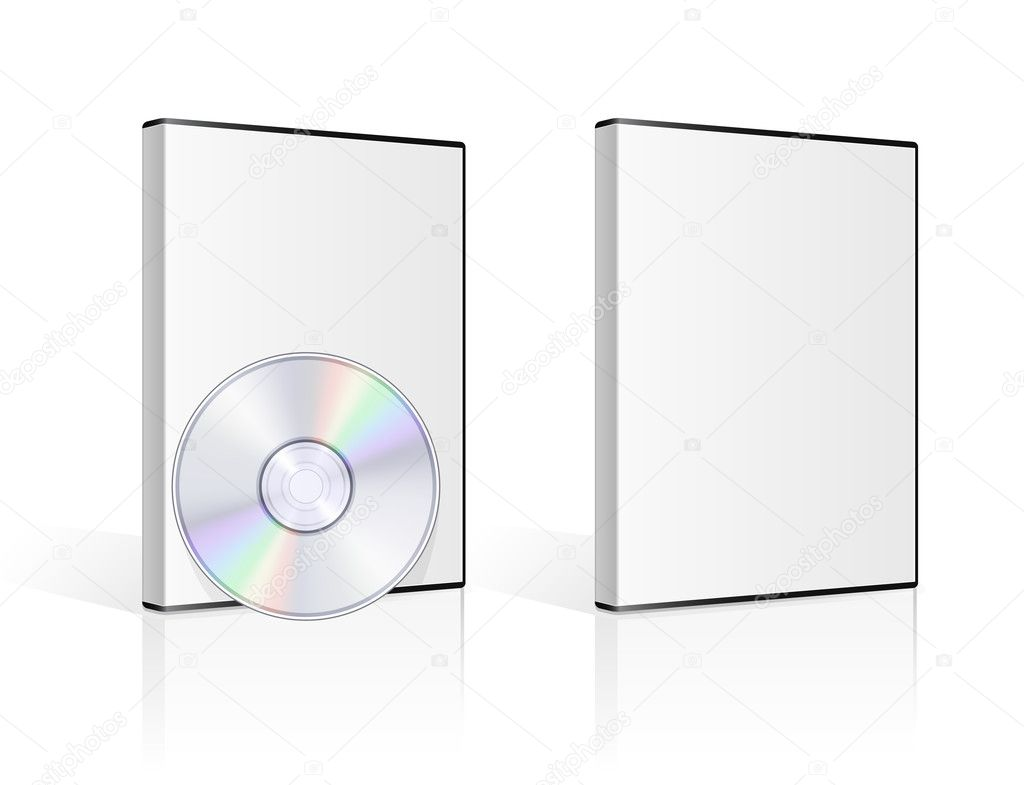 DVD case and disk on white background. Vector illustration. — ベクター素材ストック #5752977