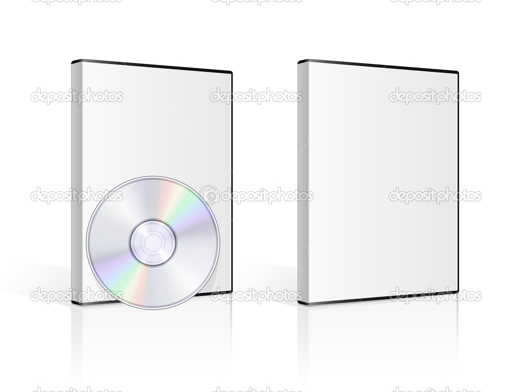 DVD case and disk on white background. Vector illustration. — Imagens vectoriais em stock #5752977
