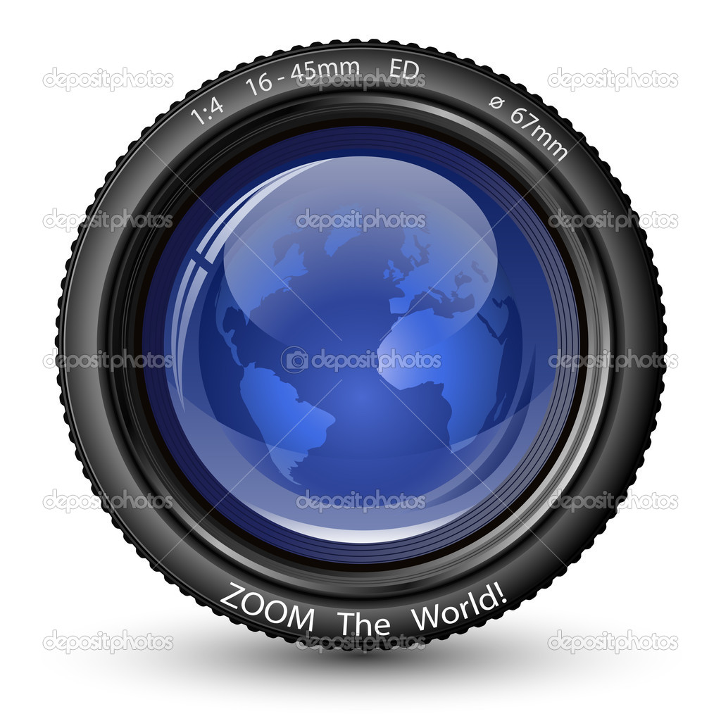 Zoom the World! Vector illustration of camera lens with Globe. Icon for TV News — Stock Vector #5792136