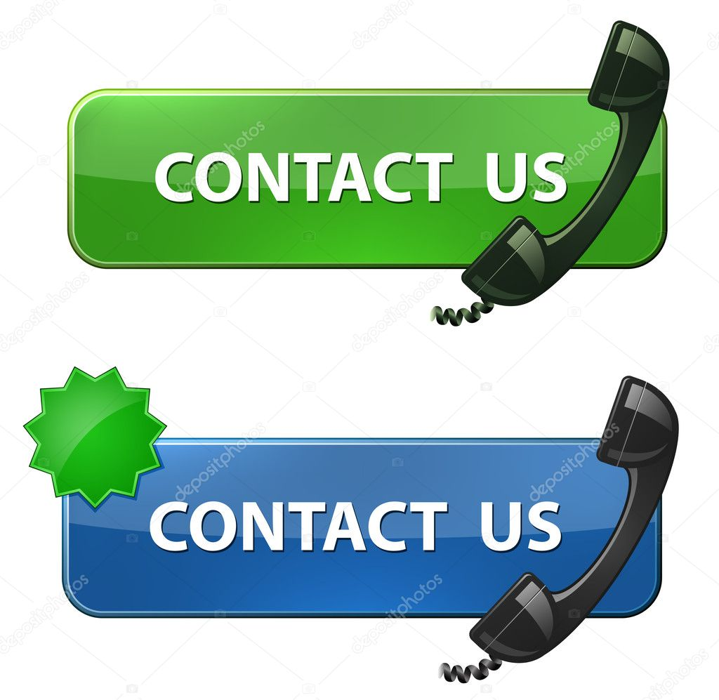 Contact Us icon. Phone receiver and contact us   button. Vector illustration — Vettoriali Stock  #5846092