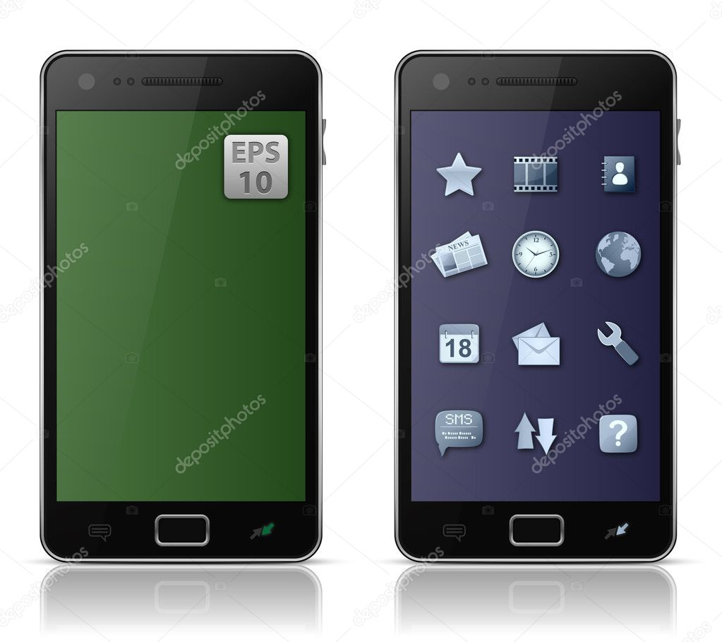 Mobile phone with icons. Vector illustration of smart phone  Stock Vector #5878009