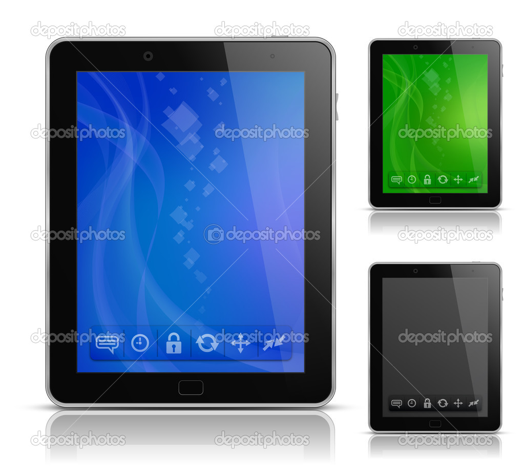 Tablet PC with abstract background and icons. User interface template. EPS 10. Vector illustration — Stok Vektör #5906564