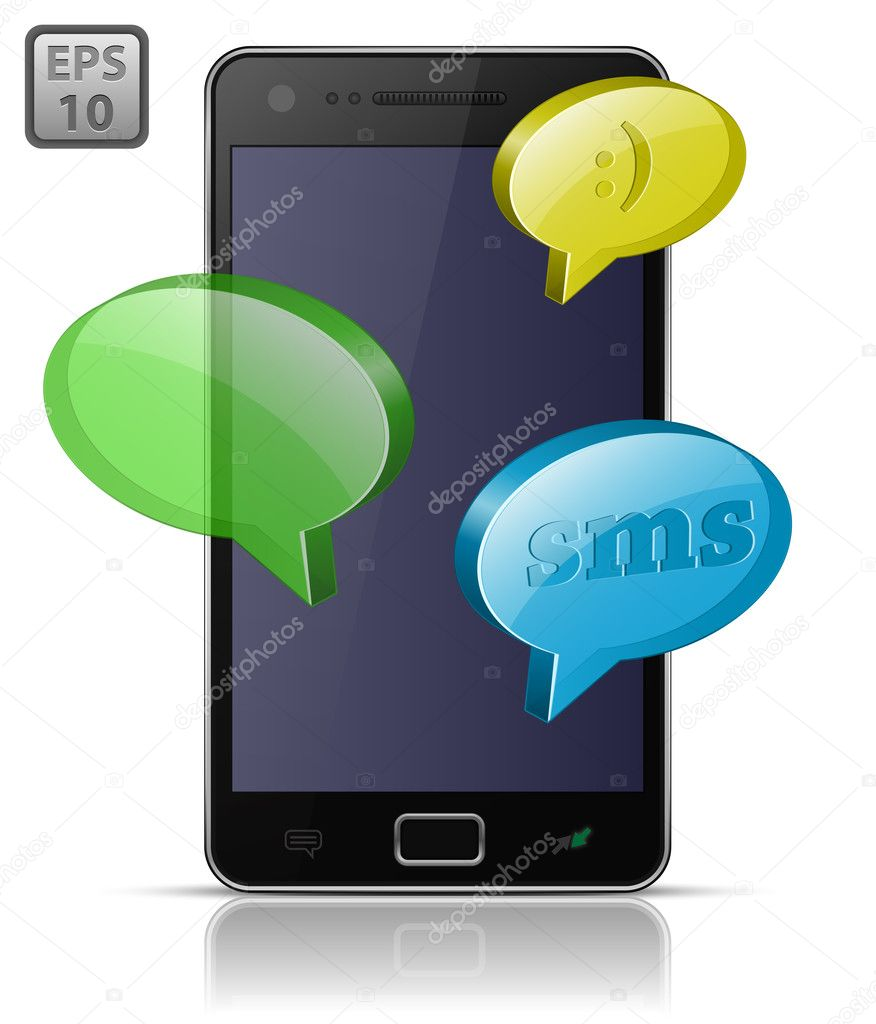 Modern mobile smart phone. Sending and Receiving SMS Messages. EPS10 — Imagens vectoriais em stock #5959817