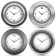 Stock Vector: Collection of chrome office clocks