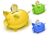 Piggy bank set. Save money concept — Stockvector