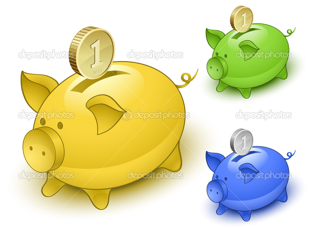 Piggy bank set. Save money concept. Vector illustration — Stock Vector #6024640