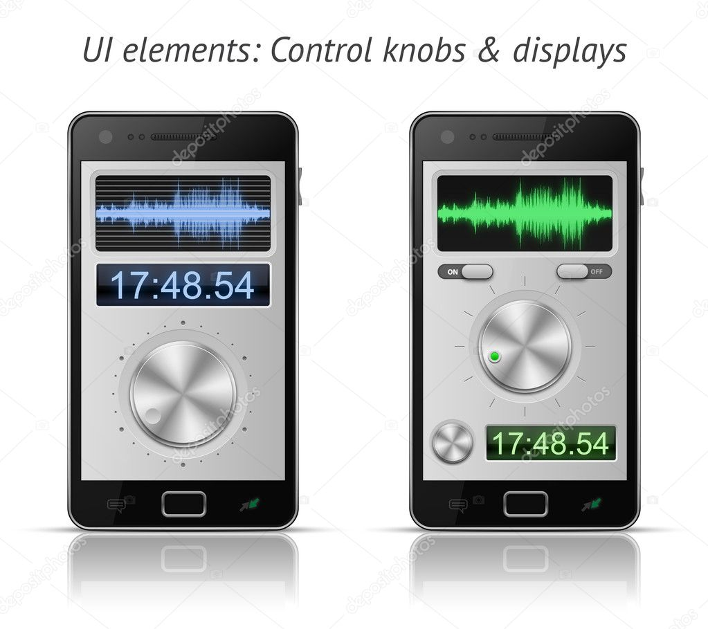 UI elements for mobile devices. Control knobs and displays. EPS 10 vector illustration — Stock Vector #6078654