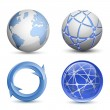 Abstract Globe Icons Set - Stok Vektör