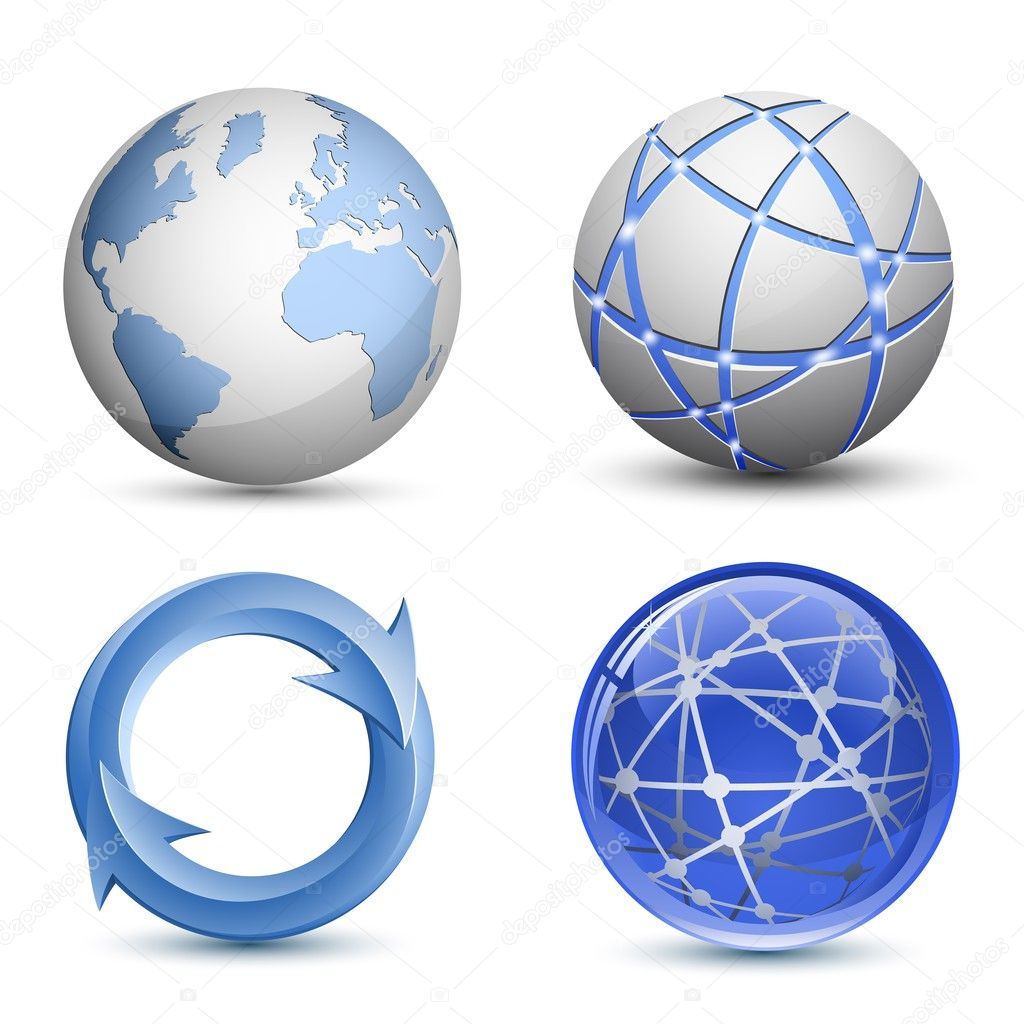 Abstract Globe Icons Set. Vector Illustration — Stock Vector #6080646