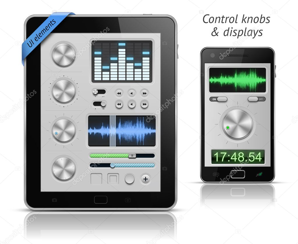 UI elements for tablets and smartphones. Control knobs and displays. EPS 10 vector illustration  Stockvectorbeeld #6081933