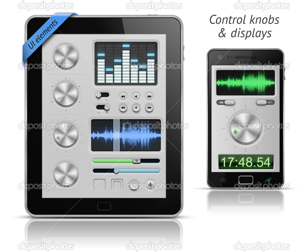 UI elements for tablets and smartphones. Control knobs and displays. EPS 10 vector illustration — Stock vektor #6081933