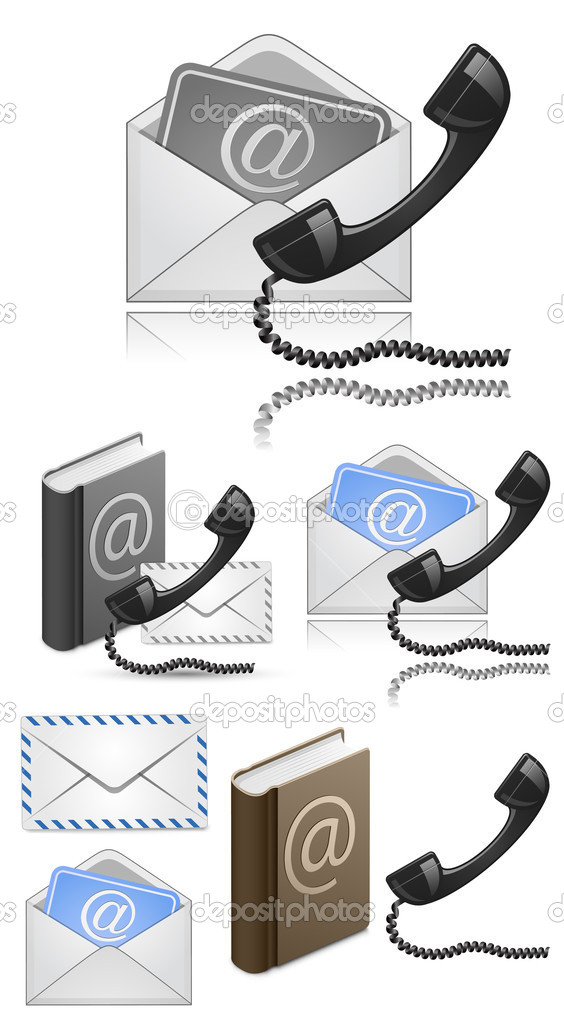 Contact Us Vector Icon Set. Vector Illustration — Stock Vector #6437746