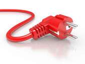 Red electric plug — Stock Photo