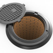 Stock Photo: Canalization manhole