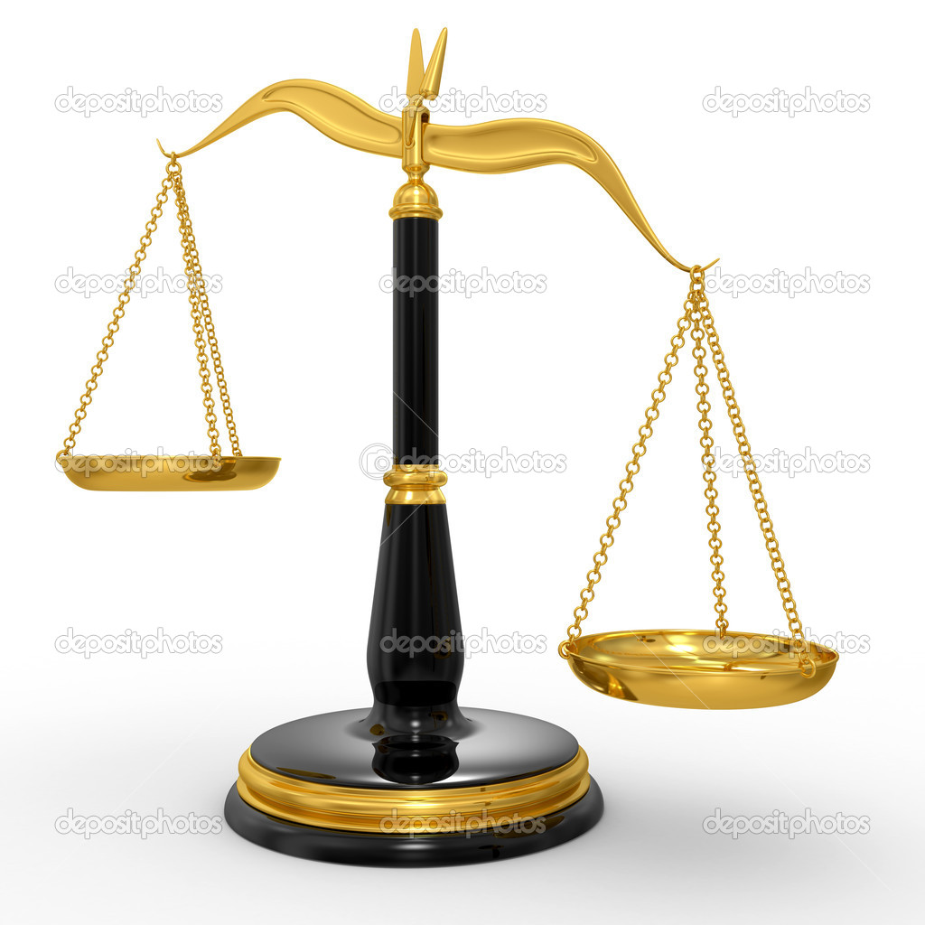 Classic scales of justice, isolated on white background — Stock Photo #5477277