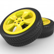 3D automobile wheel - Stock Photo