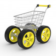 Stock Photo: 3d shopping cart with big car wheel