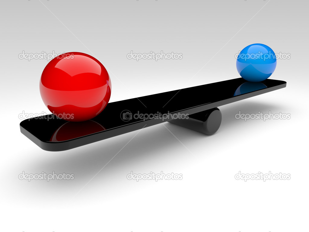 Two spheres in balance. 3d rendered illustration. — Stock Photo #5661076