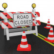 Road closed warning sign - Stock Photo